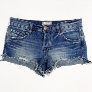 Free People denim shorts cut-off, distressed